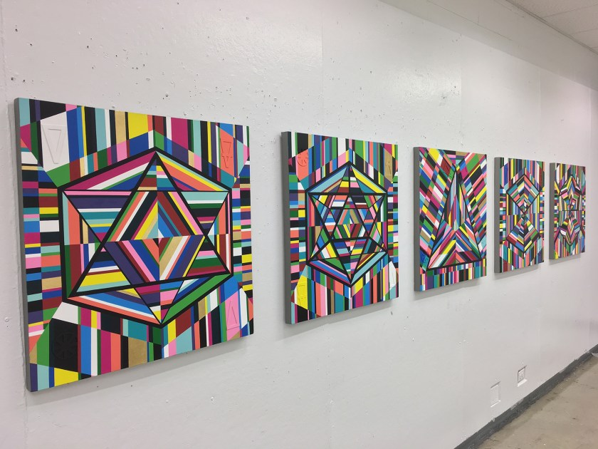"""Image: """"5 Platonic Solids"""" painting series by Kristoffer McAfee. A view of five mixed media paintings, (acrylic paint, illustration board, and gold foil) on canvas, 30""""x30"""" each. Image courtesy of the artist."""