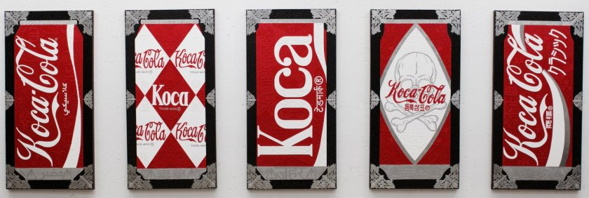 """mage: """"Classic Koca Cola Cans"""" by Kristoffer McAfee. A set of five mixed media paintings(acrylic paint, illustration board, and silver foil) on canvas, 24""""x48"""" each. Image courtesy of the artist."""