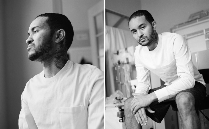 """Images: Kristoffer McAfee in his Chicago apartment, shortly before leaving for Yale. """"I never thought in a million years I would move to New Haven, so I'm ready for a new adventure."""" The image on the left shows the artist looking towards the left, and the image on the right shows him sitting looking directly at the viewer. Both photos are black and white.  Photo by Kristie Kahns."""