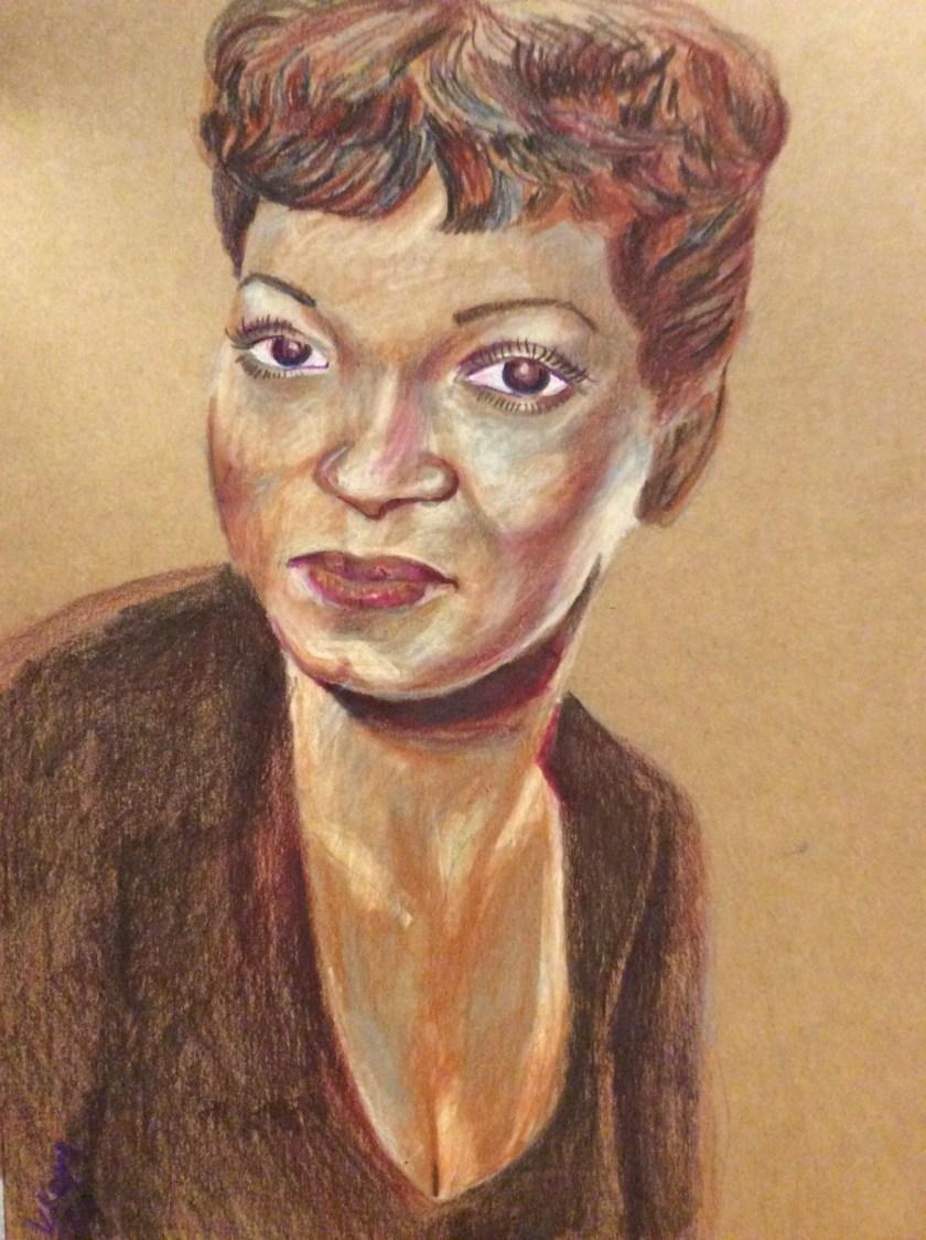 A portrait of Jackie Ormes by Venise Keys, 2019.