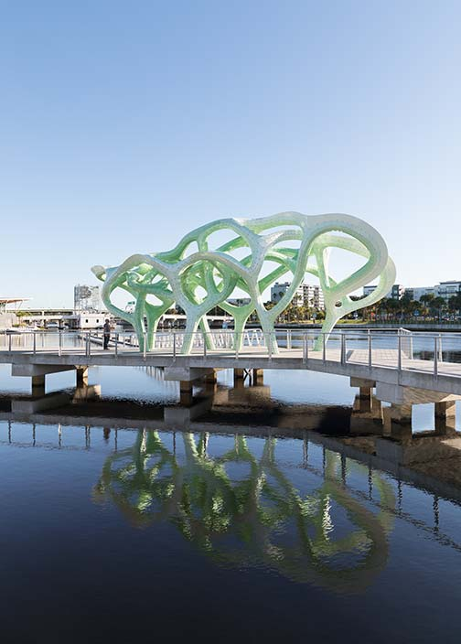 'Form of Wander' on the Hillsborough River in Tampa has 3,123 parts that make up its double-layer structure. The green-hued aluminum canopy even withstood Hurricane Michael in 2018. Photo courtesy of Theverymany.