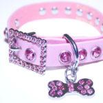 Pink Leather Bling Rhinestone Dog Collar with Bling Doggie Bone Charm