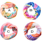 Custom Spring Color Thunderbolt Pattern Infinity Loop Scarves: Group Shot