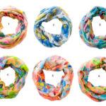 Custom Spring Color Floral Pattern Infinity Loop Scarves: Group Shot