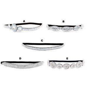 Thick Custom Pattern Shimmering Bling Crystal Bridal Rhinestone Elastic Headbands: Group Shot