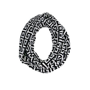 Black and White Chain Patterned Fashion Infinity Loop Scarf