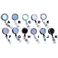 Empty Charm Locket Badge Reels Retractable Rhinestone ID Badge Holders: Group Shot