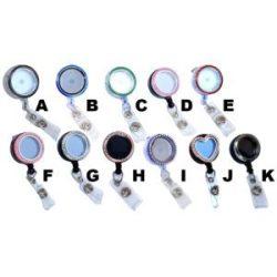 Empty Charm Locket Badge Reels Retractable Rhinestone ID Badge Holders: Group Shot