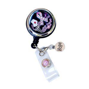 Pink Rhinestone Ribbon Nurse Hat Retractable Custom Locket ID Badge Holder: Featured Image