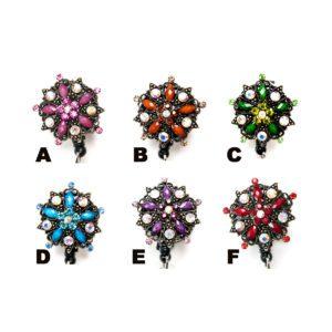 Bling Rhinestone Star Flower Badge Reel Retractable ID Badge Holder: Group Shot