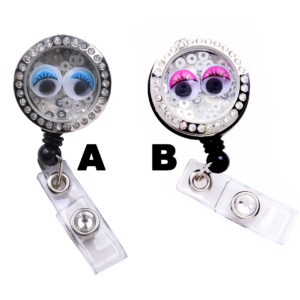 Bubble Eyes Charm Locket Badge Reel Retractable ID Badge Holder: Group Shot