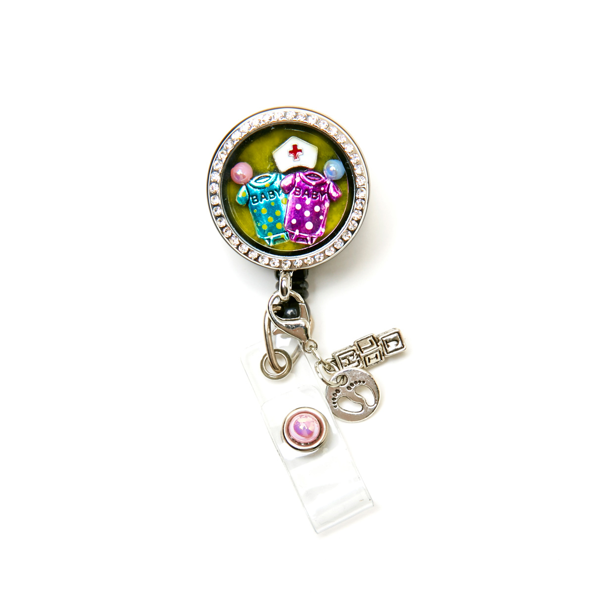 Baby Polka Dot Onesie Charm Locket Retractable Id Badge
