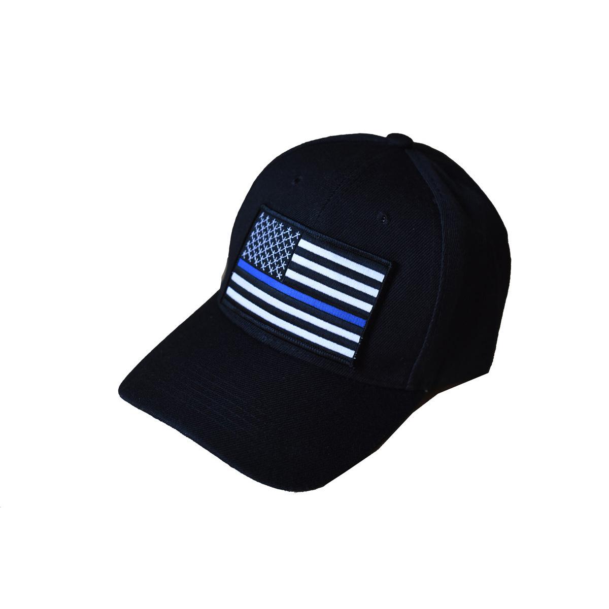 Black Thin Blue Line Flag Baseball Cap Sizzle City