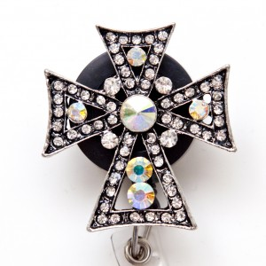 SIZZLE CITY Custom Rhinestone Retractable ID Badge Reel: Gothic Cross
