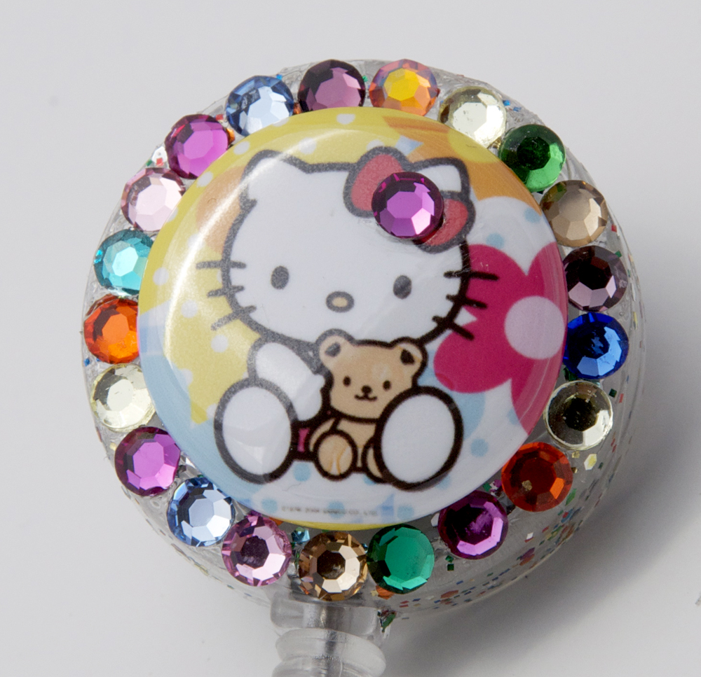 sizzle city custom retractable id badge reels baby hello kitty with teddy sizzle city. Black Bedroom Furniture Sets. Home Design Ideas