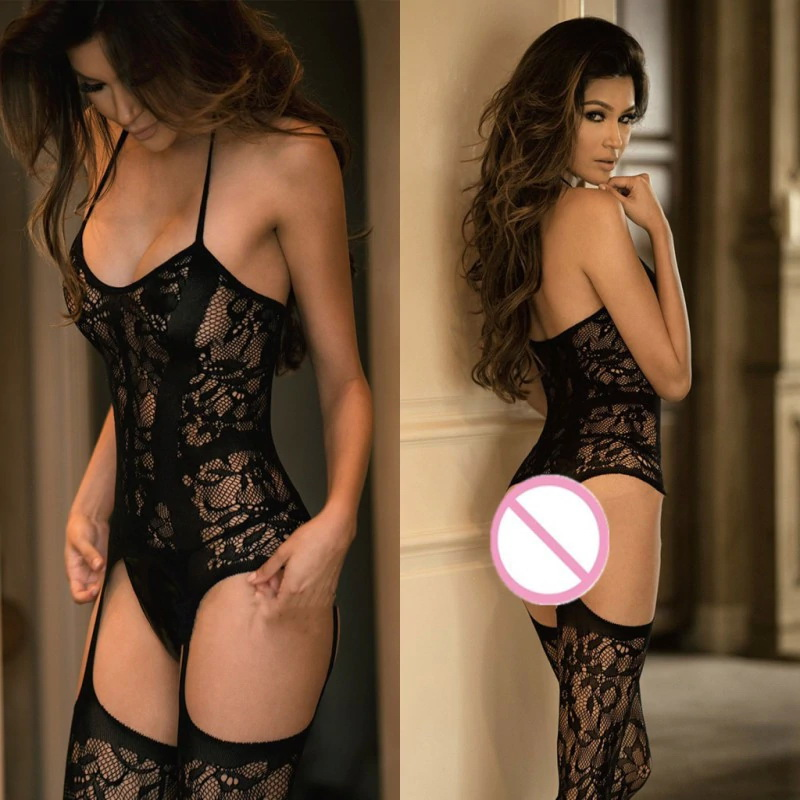 Sleepwear with Stockings and Garter Belt