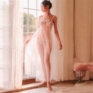Floral Embroidery Mesh Nightgown Lingerie with Panty