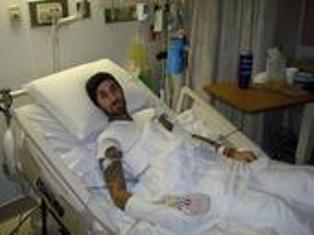 From the hospital, Travis Barker posted this pic on his blog.