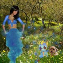 The genie smiled and sent a wave of magical sparkling dust over the friends, before disappearing into blue smoke...