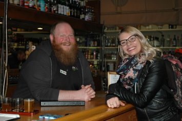 Sean and customer Chelsea Currie