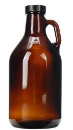 Your standard amber brown glass growler