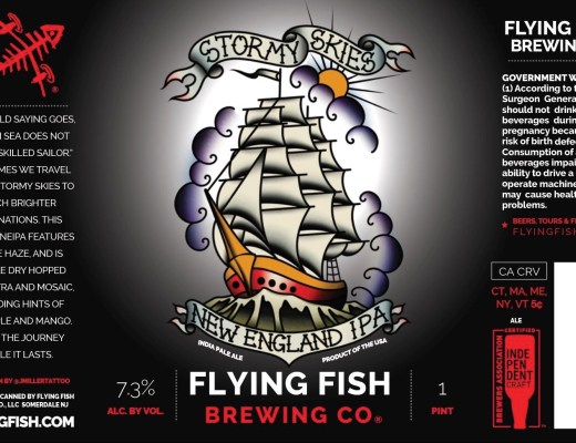 Flying Fish Brewing Stormy Skies New England IPA Beer Bottle Label