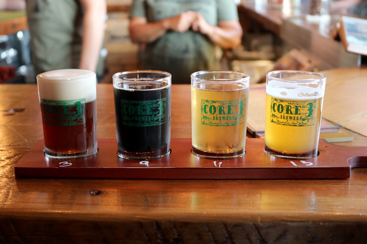 A sample flight at Core3Brewery in Clayton, New Jersey