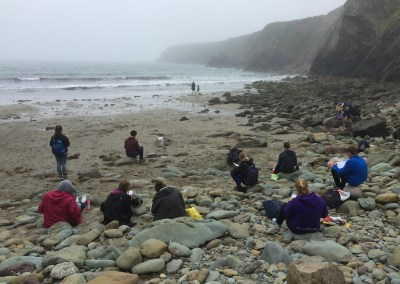 GCSE Art students with me on Caerfai Beach for an afternoon of drawing