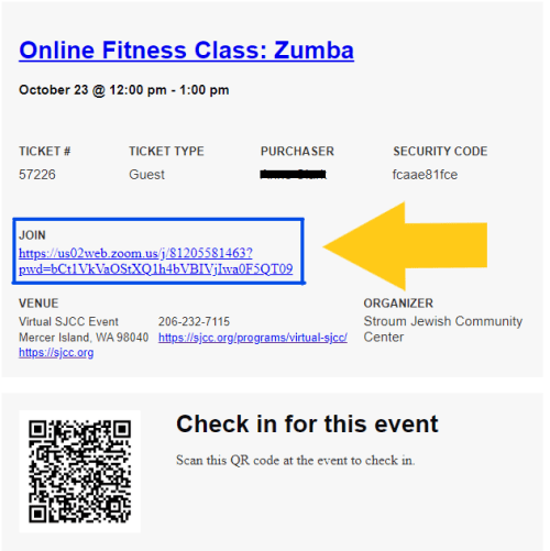 Fitness Class Zoom Link Confirmation Email Sample