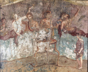A Roman dinner party where the reclining guests raise toasts to each other's health and shout drunken messages