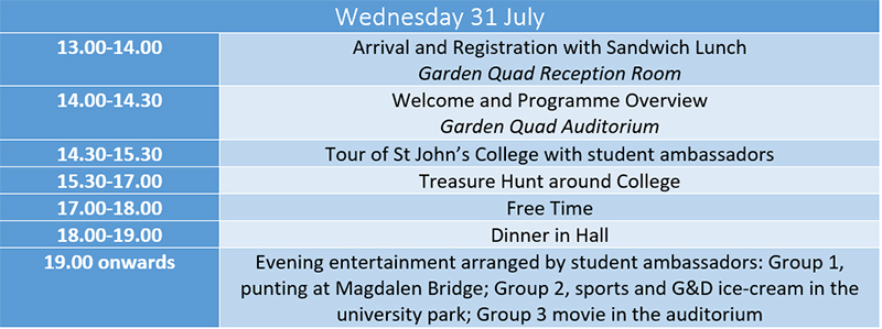 Wednesday Timetable