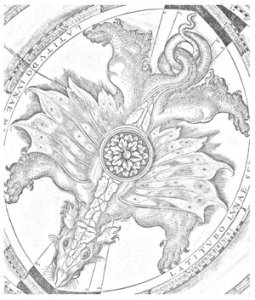 Dragon colouring page, St John's College Library