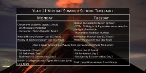 Year 11 Virtual Summer School Timetable