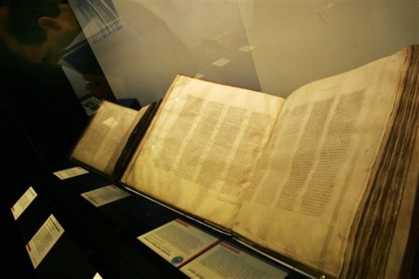 A Codex Sinaiticus manuscript displayed at the British Library in 2007.