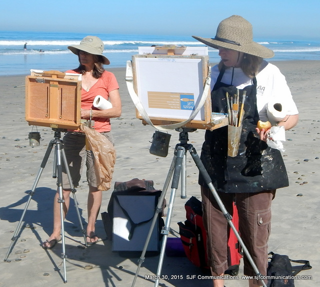 Artists Carol & Linda Painting at Torrey Pines State Beach