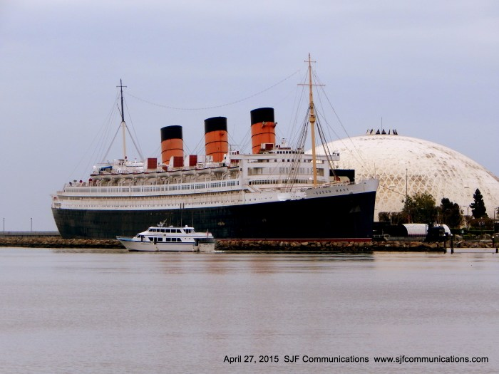 Passing by The Queen Mary Docked in Long Beach