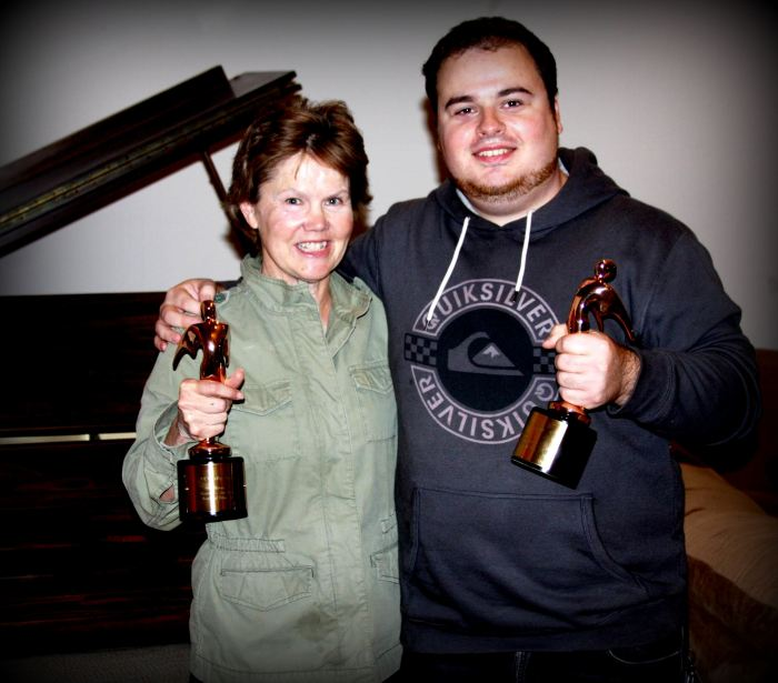 Sue Vicory with Aram Khachaturyan and Telly Awards