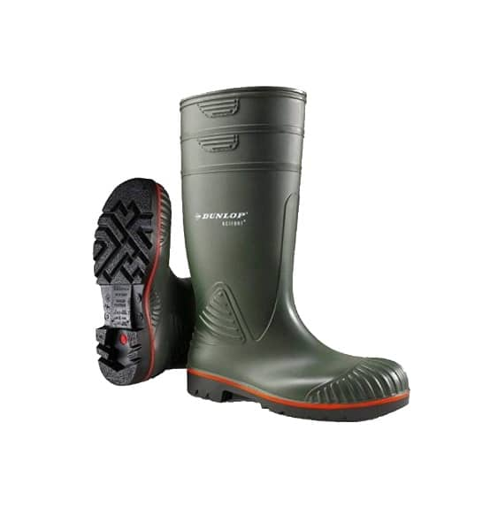 Catalogue image of dunlop acifort heavy duty full safety heavy duty hard wearing red green black waterproof wellington boots