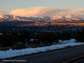 The Abajo Mountains, winter sunset from Highway 95.