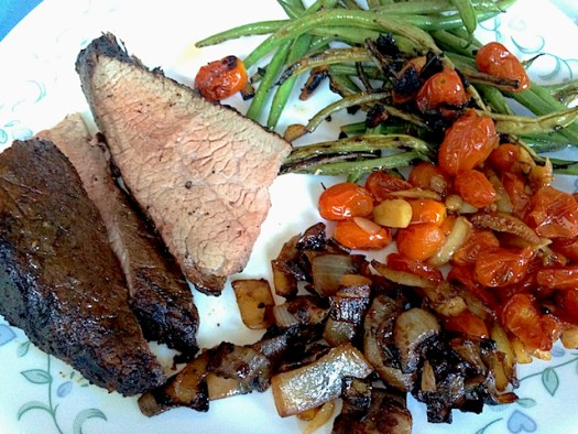 Weber BBQ Charcoal Grilled TriTip Roast - Plated with vegetables