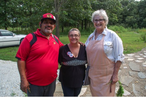 Hopkins Park and Pembroke Township residents Raul Hernandez, left, his wife Angelia, middle, and Barbara Rose, right. (Alexa Mencia/MEDILL)