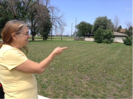 """This used to be a nice looking single home where I cut the grass when I was 13,"" said Rodriguez on August 18, of the vacant lot that the BP oil refinery in Whiting, Indiana now owns. (Cloee Cooper/Medill)"