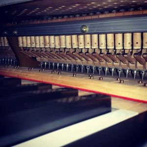 Grand action inside the piano