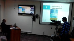 Dr. Saleem delivering a lecture in mathematics via AIOU teleconferencing technology
