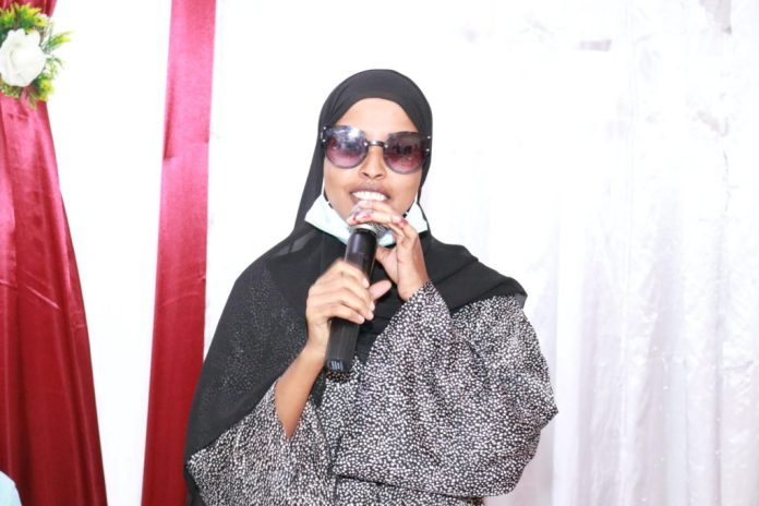 Radio Kulmiye reporter, Fardowso Mohamud Sahal speaks during the end of the three-day training on media freedom and safety in Mogadishu on Monday, 16 August, 2021. | PHOTO CREDIT/SJS.