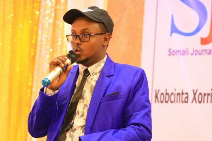 Director of Trainings Department of Galmudug Ministry of Information, Hassan Abdirahman speaks during the end of a three-day training in Galkayo, Mudug on Thursday 9 September, 2021. | PHOTO CREDIT/SJS.