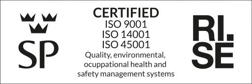 ISO certifierade sedan 1998, 2002 även enligt AFS 2001:1, uppdaterat till ISO 45001 år 2020. Kvalitets tänka på alla delar både för kund och miljö.