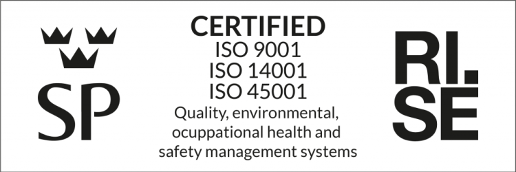 1998, Specialkarosser became certified to this standard. Since 2002, SpecialKarosser has been certified according to AFS 2001:1 – Systematic Work Environment Management, 2020, the environmental certification was updated to ISO 45001