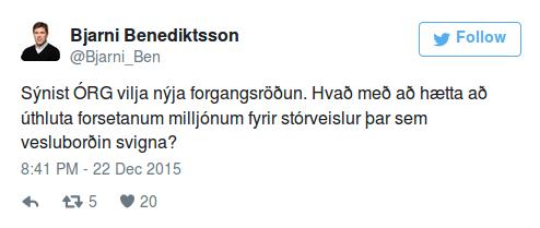 Er Bjarni Benediktsson að missa það endanlega?  Ræðst á forseta íslands með hótunum