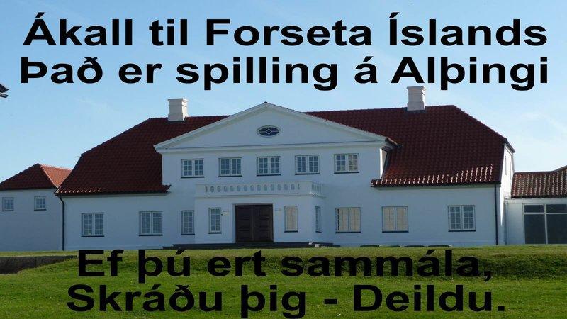 Krafa um að Forseti íslands rjúfi þing